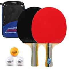 Ping Pong Paddles Quality Table Tennis Rackets 2 Ping Pong - Long handle with blue bag