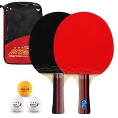 Ping Pong Paddles Quality Table Tennis Rackets 2 Ping Pong - Long handle with red bag