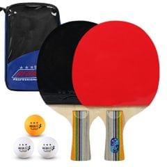 Ping Pong Paddles Quality Table Tennis Rackets 2 Ping Pong - Short handle with blue bag