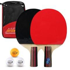 Ping Pong Paddles Quality Table Tennis Rackets 2 Ping Pong - Short handle with red bag