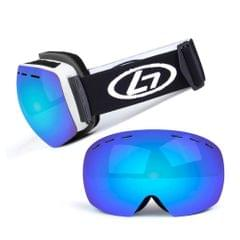 Magnetic Snowboard Snow Goggles Double-Layer Anti Fog Lens - White frame&true blue film&black band