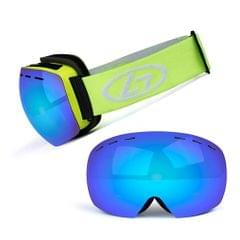 Magnetic Snowboard Snow Goggles Double-Layer Anti Fog Lens - Yellow frame&true blue film&yellow band