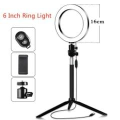 16cm/6inch Mini LED Video Ring Light Lamp Dimmable 3