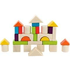 30PCS Colored Building Blocks Wooden Puzzle Blocks Kids