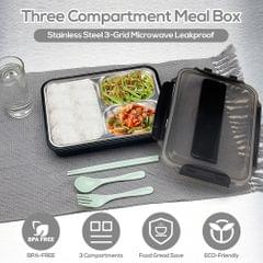 304 Stainless Steel Lunch Box 3-Grid Microwave Leakproof - 3 Grid