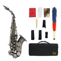 Bb Soprano Saxophone Sax Brass Material Black Nickel Plated