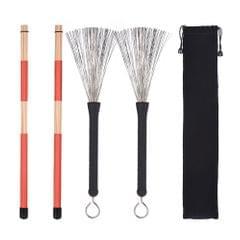 1 Pair Drum Rods Sticks + 1 Pair Drum Brushes Drum Stick Set
