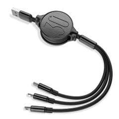 Retractable 3 in 1 USB Cable 3ft Multi Charging Cable