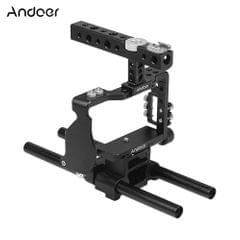 Andoer Camera Cage & Top Handle & 15mm Rod Baseplate Kit - Camera Cage & Top Handle  & 15mm Rod Baseplate Kit