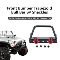 Steel Front Bumper Trapezoid Bull Bar with Shackles for 1/10