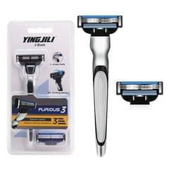 3-Blade Razor for Men's Beard Shaving 4 Razor Blade Refills - Razor Handle & 2 Refills