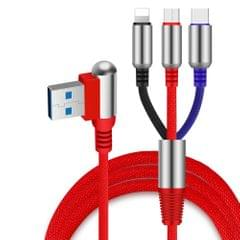 3-In-1 Charging Cable USB to Micro USB + Type C + Lightning