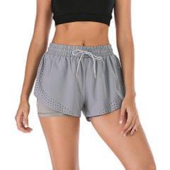 Women Summer Running Shorts Elastic Waist with Waist Rope - XX-Large