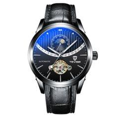 TEVISE Men Automatic Mechanical Watch Time & Moon Phase - Leather Strap