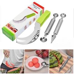 3 in 1 Creative Kitchen Small Tool Watermelon Cut Double Headed Ball Digging Device Fruit Carving Knife Three Sets