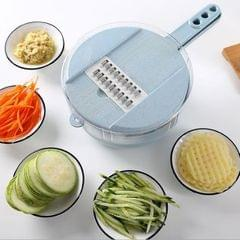 6 in 1 Slicer Multi-Function Cutting Food Potato Carrot Veggie Grater Chopper Kitchen Cutting Machine Cheese Grater (Blue)