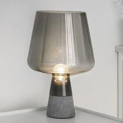 Living Room Bedroom Bedside Study Creative Simple Concrete Garden Glass Table Lamp, US Plug, Size:Small (Smoke Gray)