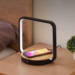 Multifunctional Table Lamp Bedroom Touch Dimming Mobile Phone Wireless Charging Reading Lamp, CN Plug (Black)