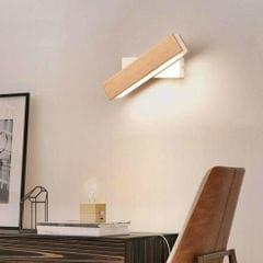 Simple Rotatable Bedside Bedroom Wall Lamp Warm Night Light, Size:31cm (Wood )