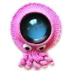 Hand-knitted Wool Camera Lens Animal Decoration Ring Baby Photo Guide Props (Pink  Octopus)
