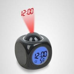 Multi-function LED Projection Alarm Clock Voice Talking Clock, Specification:Black without USB cable