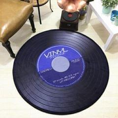 Creative Retro 3D DVR Record Carpet Round CD Floor Mat Home Decor Living Room Kid Bedroom Decoration  Rug, Diameter 100cm (Blue)