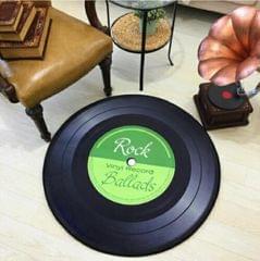 Creative Retro 3D DVR Record Carpet Round CD Floor Mat Home Decor Living Room Kid Bedroom Decoration  Rug, Diameter 80cm (Green)