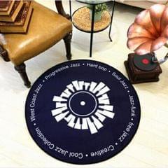 Creative Retro 3D DVR Record Carpet Round CD Floor Mat Home Decor Living Room Kid Bedroom Decoration  Rug, Diameter 80cm (Black+White)