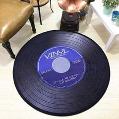 Creative Retro 3D DVR Record Carpet Round CD Floor Mat Home Decor Living Room Kid Bedroom Decoration  Rug, Diameter 120cm (Blue)