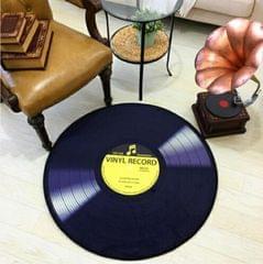 Creative Retro 3D DVR Record Carpet Round CD Floor Mat Home Decor Living Room Kid Bedroom Decoration  Rug, Diameter 60cm (Yellow)