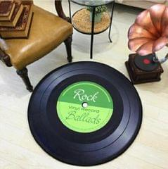 Creative Retro 3D DVR Record Carpet Round CD Floor Mat Home Decor Living Room Kid Bedroom Decoration  Rug, Diameter 60cm (Green)