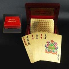 Creative Frosted Golden 100 Euro Back Texture Plastic From Vegas to Macau Playing Cards Texas Poker with Wooden Gift Box (Style3)