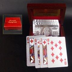 Creative Frosted Golden 100 Euro Back Texture Plastic From Vegas to Macau Playing Cards Texas Poker with Wooden Gift Box (Style6)