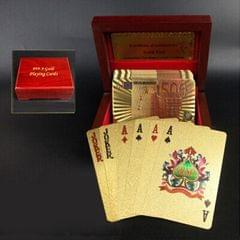 Creative Frosted Golden 100 Euro Back Texture Plastic From Vegas to Macau Playing Cards Texas Poker with Wooden Gift Box (Style7)