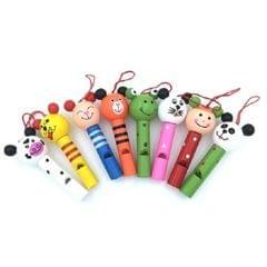 2 PCS Creative Cartoon Wooden Animal Whistle Children Environmental Protection Mobile Phone Backpack Pendant