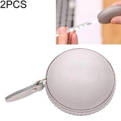 2 PCS Mini Tape Measure Cute Portable PU Measuring Ruler Measuring Bust Hips Waist Soft Tape (Gray)