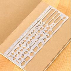 Multifunctional Stainless Steel Hollow Diary Template Ruler, Size:13.8�6.8cm (Style 2)