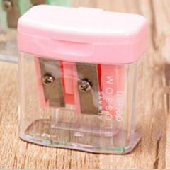 Double Holes Plastic Pencil Sharpeners Candy Color Transparent Standard Pencil Cutting Machine (Pink)