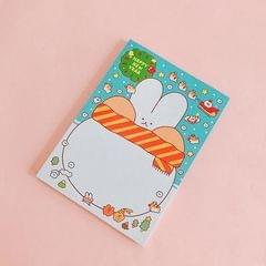 2 PCS Cute Cartoon Bread Bunny Note Book Hand Memo Material Notes Can Tear Memo Portable Notepad, Pages:80? (Christmas Rabbit)