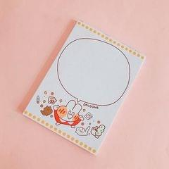 2 PCS Cute Cartoon Bread Bunny Note Book Hand Memo Material Notes Can Tear Memo Portable Notepad, Pages:80? (Dialog Rabbit)