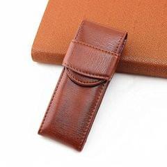 Double Pack Pen Storage Bag Leather Pen Case Pen Case for Business Office (Light Brown)