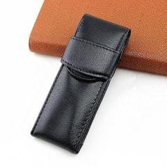 Double Pack Pen Storage Bag Leather Pen Case Pen Case for Business Office (Black)