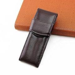 Double Pack Pen Storage Bag Leather Pen Case Pen Case for Business Office (Dark Brown)