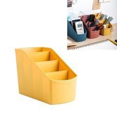 3 PCS Home Office Plastic Storage Box Desktop Student Stationery Rack Cosmetic Box (Yellow)