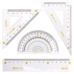 5 PCS Deli 71950 Student Exam Ruler Four-piece Set Containing Ruler Triangle Protractor