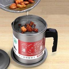 Oil Can Stainless Steel Strainer Household Kitchen Oil Storage Tank With Lid, Capacity: 1.4L