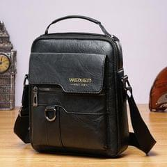 WEIXIER 8642 Men Business Retro PU Leather Handbag Crossbody Bag (Black)