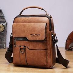 WEIXIER 8642 Men Business Retro PU Leather Handbag Crossbody Bag (Brown)