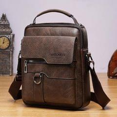 WEIXIER 8642 Men Business Retro PU Leather Handbag Crossbody Bag (Dark Brown)