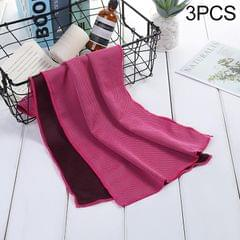 3 PCS Absorbent Polyester Quick-drying Breathable Cold-skinned Fitness Sports Portable Towel (Magenta)